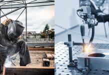 Manuellem und Roboterschweißen